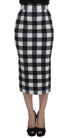 Dolce & Gabbana Black White Checkered Long Pencil Skirt