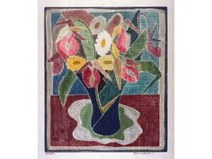 Petunias, Blanche Lazzel; 1926. white line wood cut. (1878-1956)