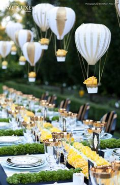 Those hot air balloons are so cute! Garden party tablescape with yellow roses, greens, and hot air balloon decors weddingdecor tablescapes gardenparty gardenpartywedding yellowwedding garden Romantic Wedding Centerpieces, Wedding Decorations, Table Decorations, Wedding Ideas, Whimsical Wedding, Centerpiece Ideas, Wedding Favors, Wedding Inspiration, Diy Wedding