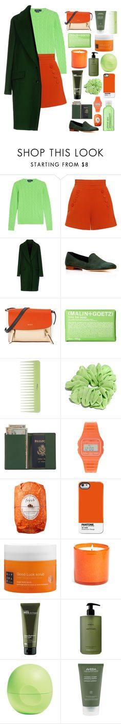 """""""GREEN~"""" by anam53046 ❤ liked on Polyvore featuring Polo Ralph Lauren, Finders Keepers, Cédric Charlier, Mansur Gavriel, DKNY, (MALIN+GOETZ), Royce Leather, Casio, Fresh and Case Scenario"""