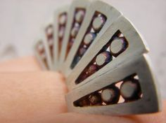 Colorful Hand Fan Ring by aranajewelry on Etsy, $275.00