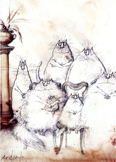 snorkus:    Ronald Searle, cartoonist, illustrator and artist died today. David Sillito looks back at Ronald Searle's career also The Guardians obit by Gerald Scarfe - raise your Champagne glasses to a great man.