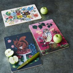 Owl, Squirrel, and Floral Cutting Boards - by Nathalie Lete  Pinned by www.myowlbarn.com