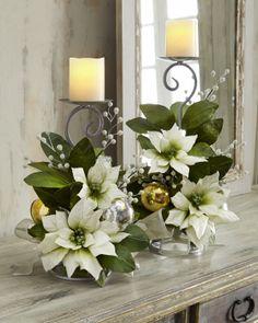 NM EXCLUSIVE Poinsettia Candleholders - Neiman Marcus