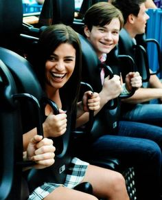 Lea, Chris and Cory and a rollercoaster
