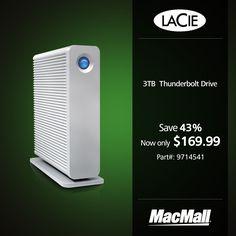 Save 43% on a 3TB #LaCie Thunderbolt drive at MacMall.