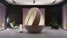 Moderna vasca da bagno con doccia, l'arredo bagno futuristico di Arina Komarova