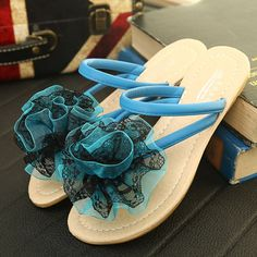 Blue Lace Flat Beach Wedding Bridal Party Bridesmaid Sandals Women SKU-1091622