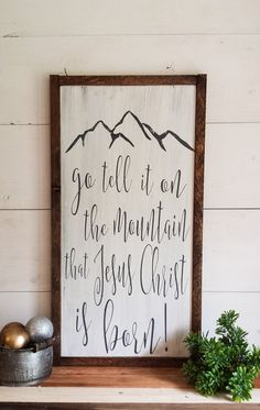 Go Tell It On The Mountain Sign Wood Christmas by RevelationHouse