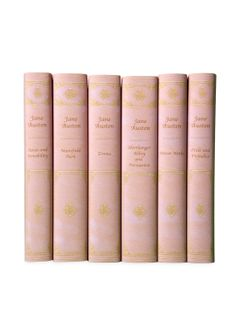 """""""Jane Austen's complete works in custom paper jackets that look like luxurious pink leather bindings. Published by Oxford University Press."""" If you like J.A., this is a pretty way to do it."""