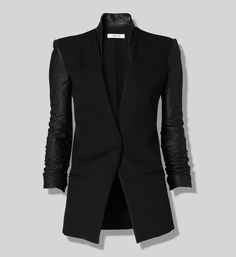 Leather sleeve blazer