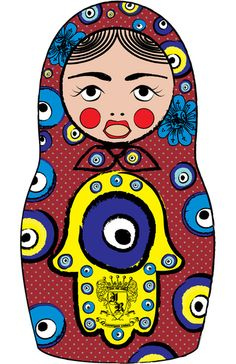 Hamsa/Evil Eye Matryoshka Art Print by Rozenblyum Couture - X-Small Evil Eye Art, Coffee Stencils, Protection Symbols, Prayer Flags, Matryoshka Doll, Hand Of Fatima, Look At You, Coloring Pages For Kids, Crafty