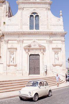 Vintage car outside church, Centro Storico, Lecce, Puglia, Italy