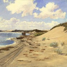 Carl Locher - 'The mail coach'. 1885 Most of the artists visiting Skagen in the 1870s and 80s, travelled with the mail coach. Until 1890 - when the railroad was extended from Frederikshavn - travellers had to disembark from the shore or use the mail coach or private horse-drawn carriages. This journey of around 40 km along the seashore took almost a full day #carllocher