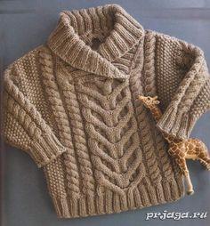 Узорчатый детский свитер спицами