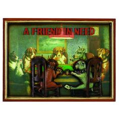 """Sometimes you gotta help your friend ;)   Pup Sign """"Poker dogs -  a friend in need"""" - RAM -"""