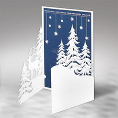 Merry Christmas Wishes : Christmas card inspiration blue and white lazer cut card gate fold with layered winter scene trees and a deerAbout Xmas Cards Handmade Winter Scenes 12 Christmas Cards 2017, Merry Christmas Wishes, Holiday Cards, Christmas Christmas, 3d Cards, Pop Up Cards, Folded Cards, Xmas Cards Handmade, Handmade Christmas