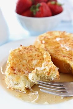 Coconut crusted french toast - made with coconut milk and coconut YUM!