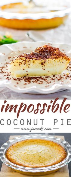 Impossible Coconut Pie2 cups milk 1 cup shredded unsweetened coconut 4 eggs 1 tsp vanilla extract 1/2 cup all-purpose flour 8 tbsp butter unsalted (1 stick or 125 g) 3/4 cup sugar pinch of ground nutmeg pinch of salt