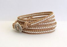 Chan Luu Inspired Leather Wrap Bracelet with Silver Nuggets on Natural Leather