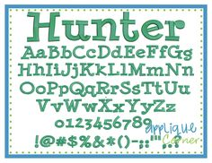 """Hunter Embroidery Font These letters come in  .5"""", 1"""", 1.5"""", 2"""", 2.5"""", 3"""", 3.5"""" sizes"""