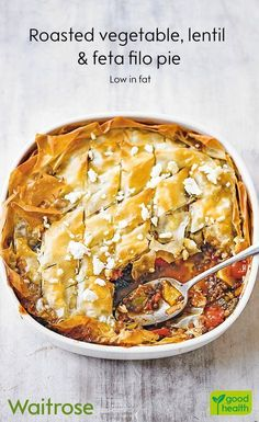 If you fancy a comforting dinner, our roasted vegetable, lentil and feta filo pie will hit the spot! Cook's tip: Freeze the leftover filo if you don. Veg Recipes, Cooking Recipes, Healthy Recipes, Vegetarian Recipes To Freeze, Vegetarian Roast Dinner, Vegetarian Christmas Recipes, Vegetarian Pie, Vegetarian Grilling, Cooking Rice