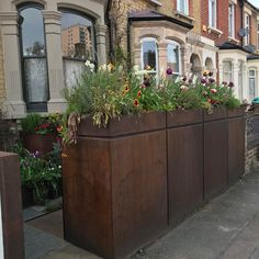 Front of Victorian terrace garden with integrated bike and bin storage - steel and highly secure Garden Ideas Victorian Terrace, Terrace Garden, Garden Plants, Front Gardens, Outdoor Gardens, Bike Storage Front Garden, Bike Garage, Front Driveway Ideas, Bin Shed