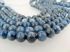 Silver blue Kyanite round beads 9mm, Top quality Gemstone beads, DIY loose beads by Susiesgem on Etsy