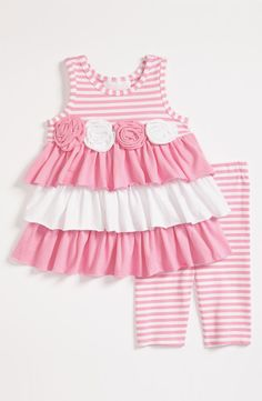 Bonnie Baby Dress & Leggings (Infant) available at Nordstrom Little Girl Outfits, Little Girl Dresses, Kids Outfits, Baby Girl Dress Patterns, Baby Girl Dresses, Dress Girl, Pink Dress, Toddler Fashion, Kids Fashion