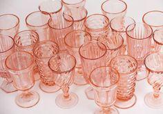Pink Pressed Glass Goblets