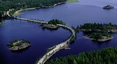 The special landscape with ridges and part of the grand Lakes of Saimaa in Puumala, Eastern Finland
