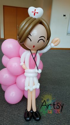 Nurse day balloon nurse sculpture More at https://artsyballoons.com/