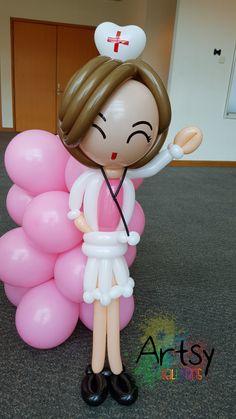 Nurse day balloon nurse sculpture More at https://artsyballoons.com/