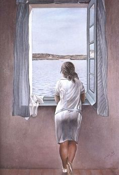 Salvador Dali Figure at a Window print for sale. Shop for Salvador Dali Figure at a Window painting and frame at discount price, ships in 24 hours. Salvador Dali Kunst, Salvador Dali Paintings, Window Art, Open Window, Window Hanging, Art Moderne, Pics Art, Love Art, Oeuvre D'art