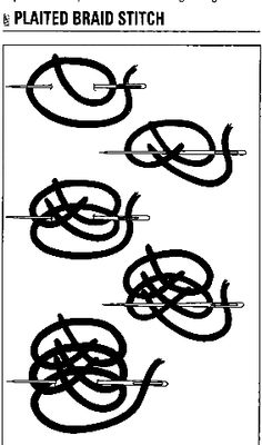 Plaited braid stitch (from Mary Thomas's diagram in her Dictionary of Embroidery Stitches (page 51)