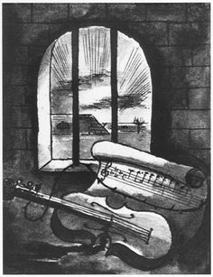 1943 still life of a violin and sheet of music behind prison bars by Bedrich Fritta (1909-1945), Czech Jewish artist who created drawings and paintings depicting conditions in the Theresienstadt camp-ghetto. Fritta was deported to Auschwitz in October 1944; he died there a week after his arrival.