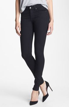 7 For All Mankind® Stretch Skinny Jeans (Elasticity Black) available at #Nordstrom ...... hardly wear jeans but these are an investment