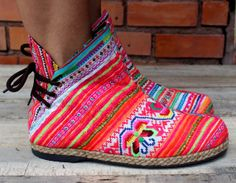 Funky Womens Ankle Booties Ethnic Hmong by Siamese Dream Design, these are too cute