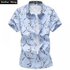 QUANBO 2017 New Arrival Summer Casual Plus size Print Shirts Short sleeve Men Slim Fit Shirt Camisa Masculina Casual Shirts For Men, Men Casual, Men Shirts, Collar Shirts, Collar Blouse, Shirt Men, Chemise Fashion, T Shirt Sport, Short Shirts