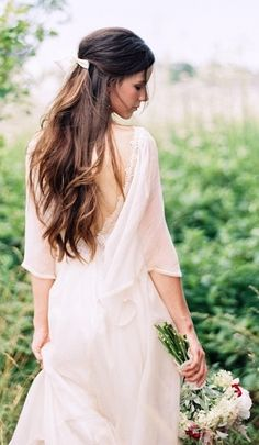 Boho Bride's long casual half up bridal hair Toni Kami Wedding Hairstyles ♥ ❷ Wedding hairstyle ideas