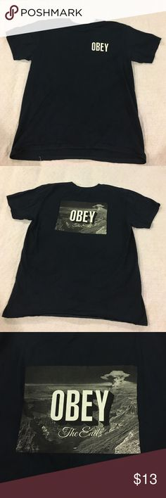 Navy blue Obey shirt Dark navy blue Obey t shirt -Urban Outfitters. Size: L. Worn once. Still in good condition. Urban Outfitters Shirts Tees - Short Sleeve