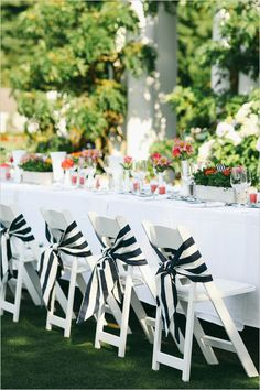 Navy and white wedding reception Bold stripes & bright accents bring out the best in preppy decor for this Orange and Navy Country Club Wedding. Striped Wedding, White Wedding Flowers, Nautical Wedding, White Weddings, Wedding White, Indian Weddings, Gold Wedding, Wedding Bells, Decoration Table
