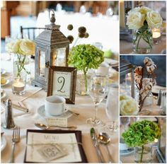 Elegant Rustic Wedding Tablescape. Wedding Lantern. Green Flowers for wedding reception.