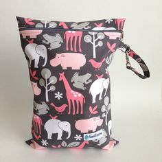 Zoology Pink Wet Bag | Maxwell Designs #wetbag #wetbags #wetdrybag #clothdiapers