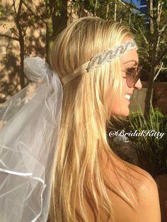 Wedding Veil Bachelorette Party Rhinestone Crystal by BridalKitty1