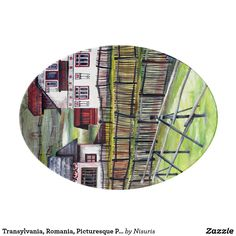 Transylvania, Romania, Picturesque Painted Scenery Porcelain Serving Platter - Transylvania, Romania, Picturesque Painted Scenery - Transylvanian landscape painting: acrylic on canvas. The artwork is an original picturesque scenery from Romania in the city of Transylvania. You are welcome to contact if in need to apply the design for a product which is in Zazzle store, but not in my products list. Thank you for viewing my realm of Nisuris Art.