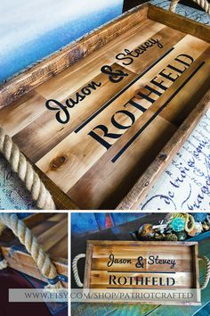 Personalized Wood Tray, Last Name Sign, Last Name Serving Tray, Wedding Gift Ideas #weddinggifts #woodtrays #rustichomedecor