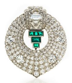 Art Deco Diamond  and Emerald Cartier Clip