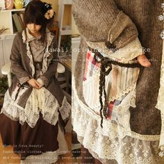 2017 Japanese Autumn Winter Sweet Lovely Shawls Patchwork Lace Sweater Women Mori Girl Loose Knitting Sweaters Cardigan A053