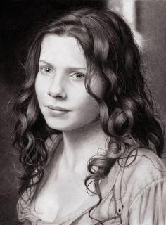 """Laura Richis"" - Valerie, pencil {figurative realsim art beautiful female head young woman face portrait drawing} dollface1994.deviantart.com"